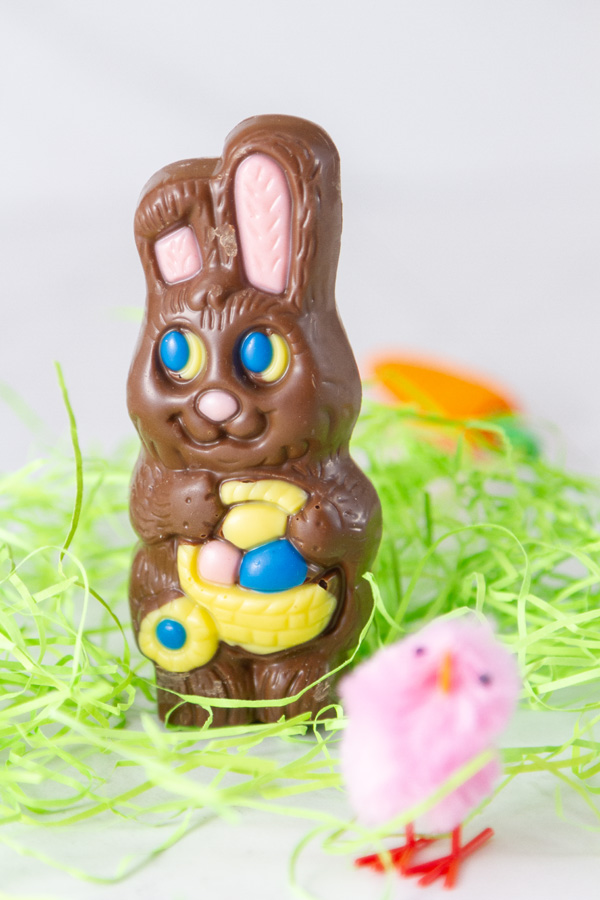 a chocolate Easter bunny on green Easter grass with a pink chick