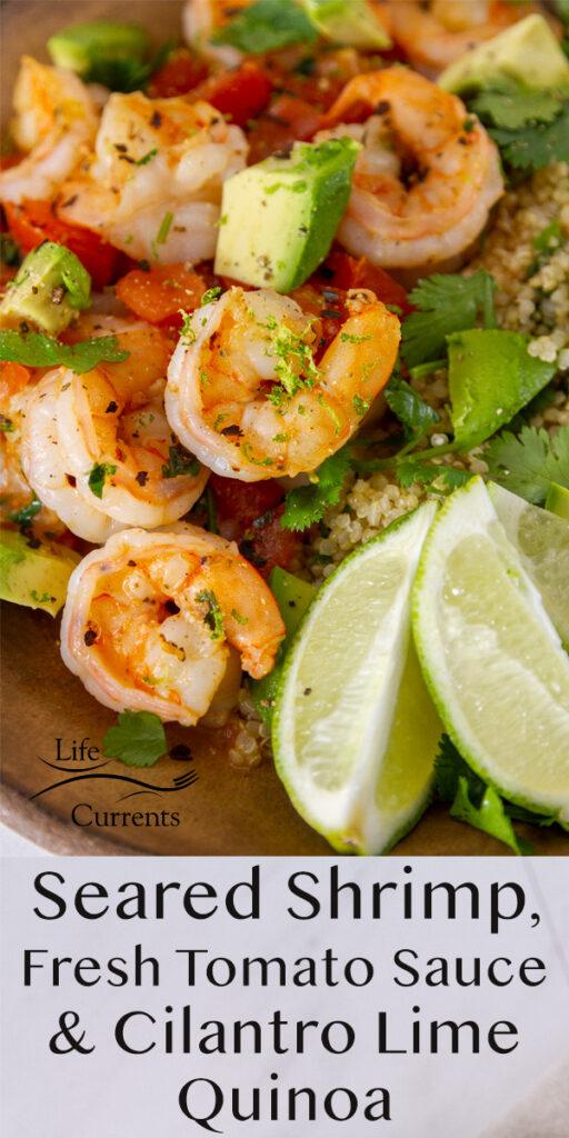 close up on cooked shrimp, lime wedges, avocado, cilantro, and quinoa bowl.