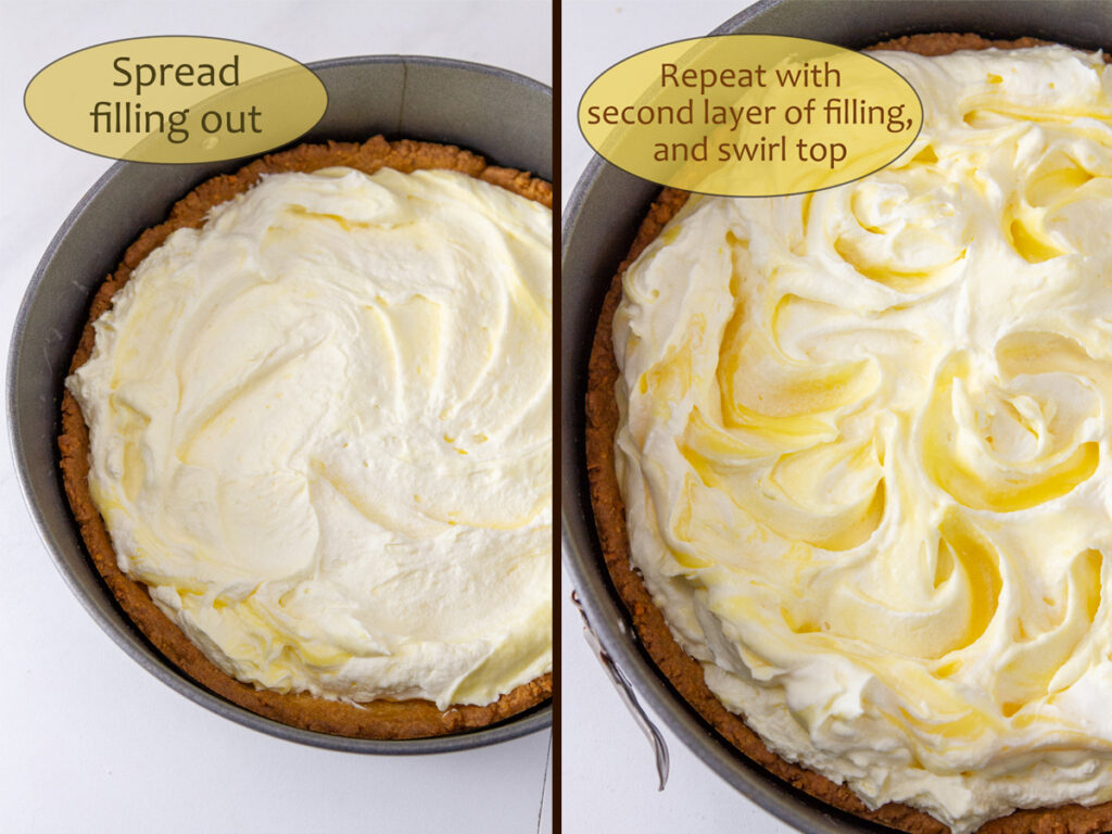 How to make Lemon Cream Pie, process shots: spread the filling into the crust and repeat with second half of filling.
