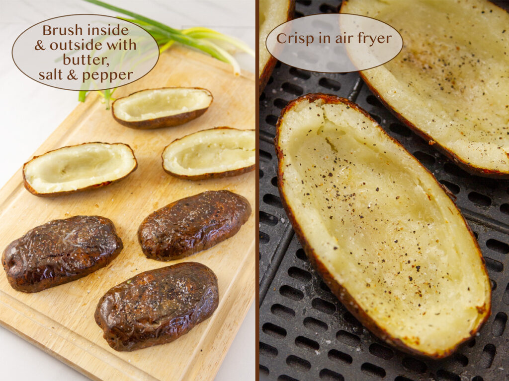 making potatoes into appetizers.