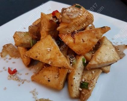 Crispy stack of salt 'n' chili tofu