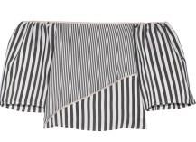 Off-the-shoulder satin-trimmed striped voile top £305