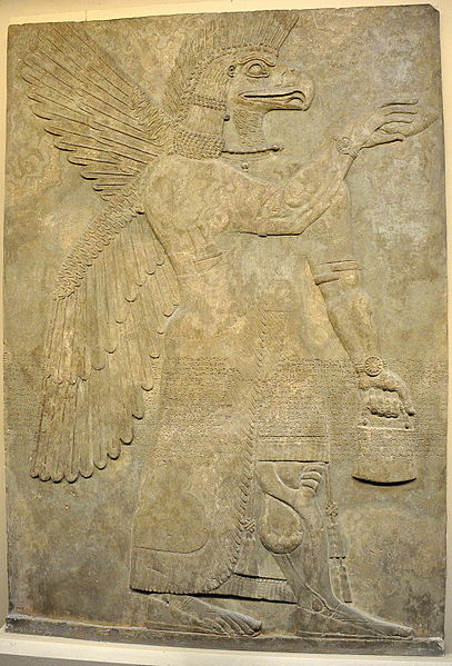 Wall_relief_depicting_an_eagle-headed_and_winged_man,_Apkallu,_from_Nimrud.