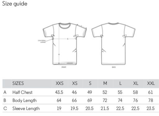 Unisex T-shirt Size guide