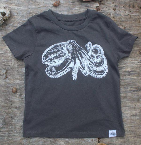 children's octopus t-shirt – dark grey