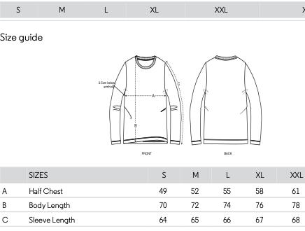 Long Sleeve T-shirt sizes