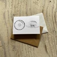 Moon jellyfish greetings card