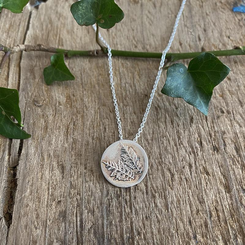 Moss fine silver textured pendant
