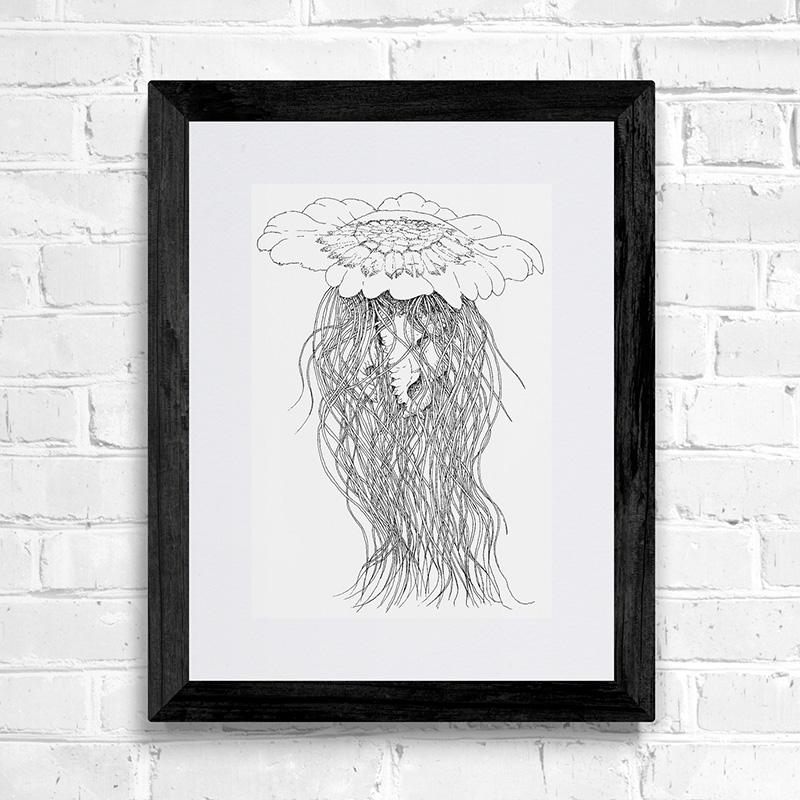 Blue Jellyfish Fine Art Print
