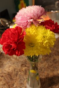 Life Full and Frugal/bouquet of red carnations and pink and yellow mums