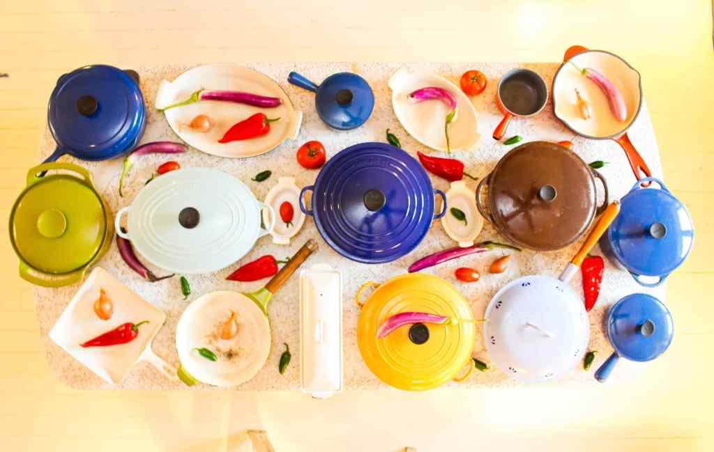 colorful cast iron enamel pans