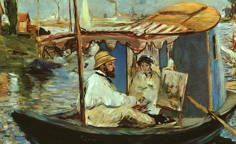 Эдуард Мане картина Моне в его лодке-студии 1874 82х100 Neue Pinakothek, Munich, Germany