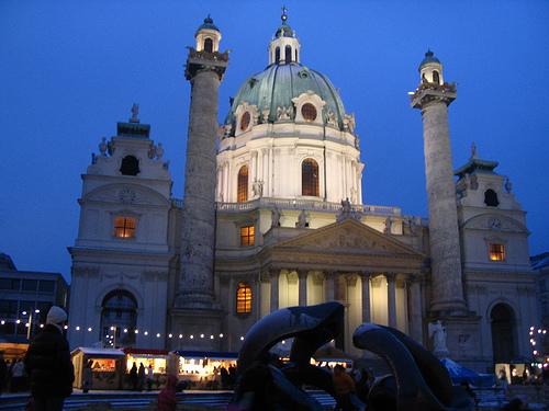 Christmas Market Vienna, Собор Карла, Карлскирхе, Рождественский базар, ярмарка