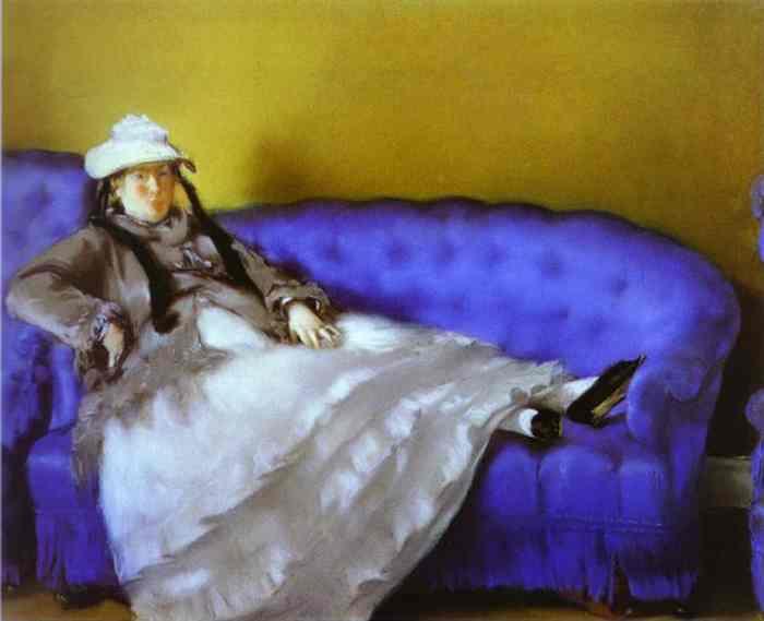 Мадам Мане на голубой софе, картина Эдуарда Мане, 1874