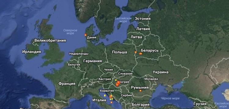 Карта молний, сайт с молниями
