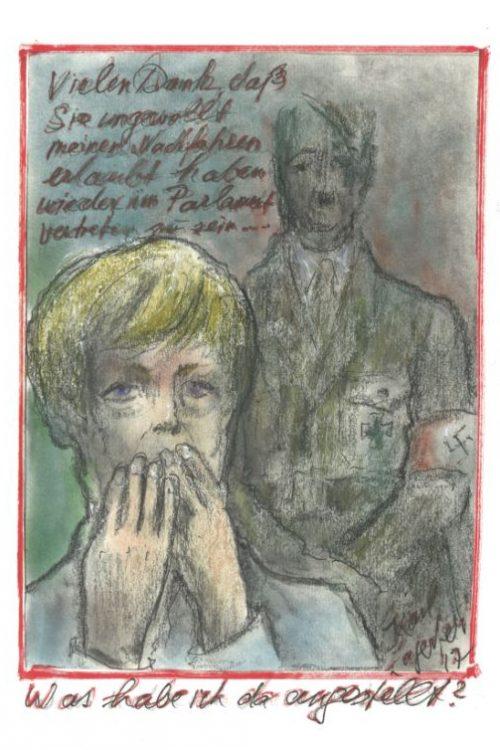 Карл Лагерфельд, Гитлер, Меркель, карликатура, карикатура