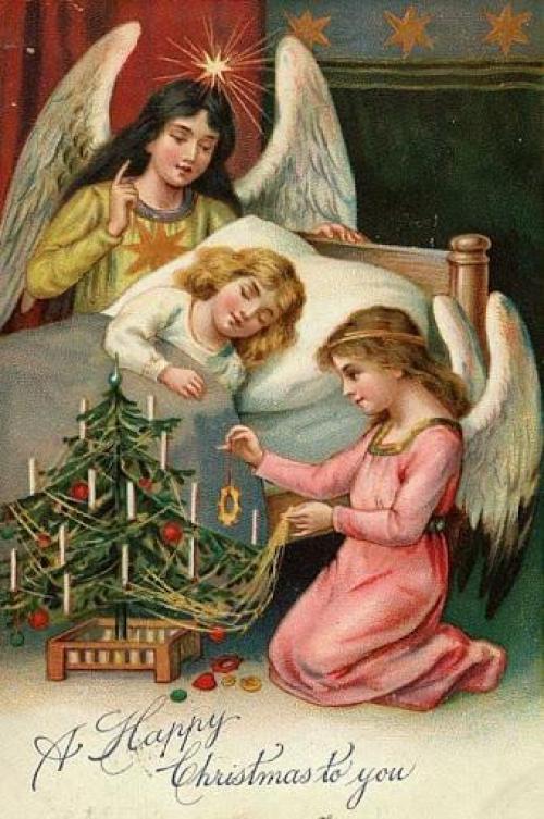 Поздравления с Рождеством – открытки, стихи, елка, старинное фото