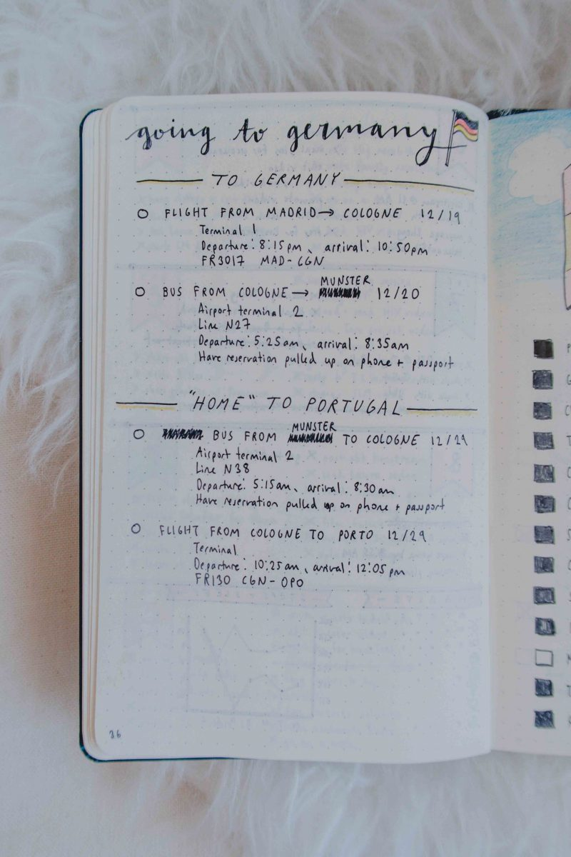 germany trip planning with a bullet journal