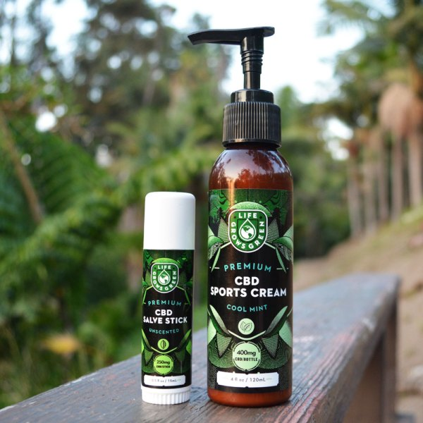 CBD salve stick and sports cream from Life Grows Green.