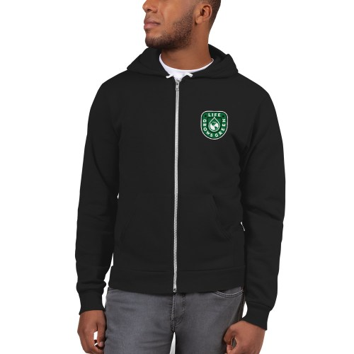 Black Zip up Life Grows Green Hoodie.