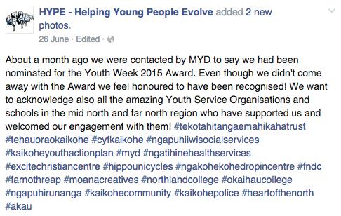 HYPE Facebook Status - Youth Week