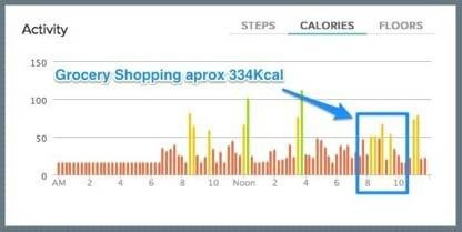 Acting synchronously on the lifehackr diet plan; burning calories while shopping.