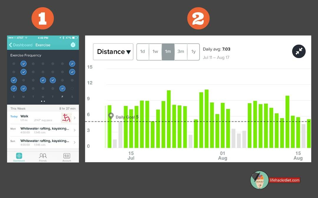 Kickstart Your Diet! Observe. See exercise and activity patterns in the Fitbit app dashboard.