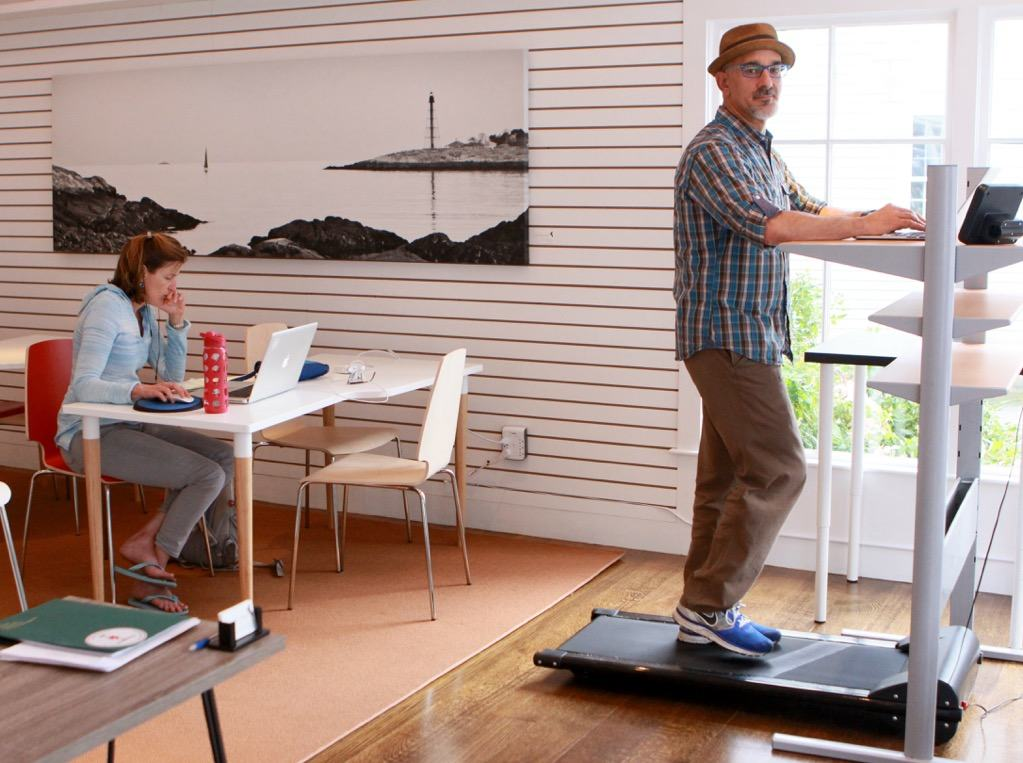 Paul Michaels working on a Treadmill Desk at WorkTable Marblehead.