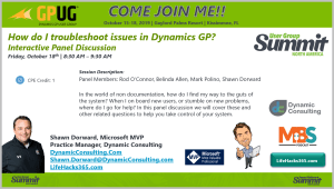 Come See Me at Summit 2019:  Troubleshooting Dynamics GP
