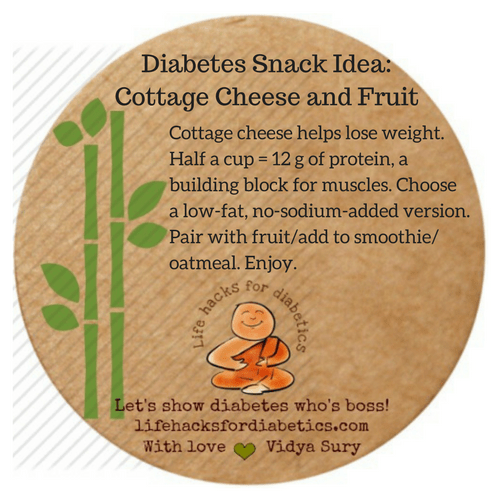 Diabetes Snack Idea:  Cottage Cheese and Fruit