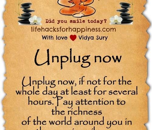 Unplug now Vidya Sury