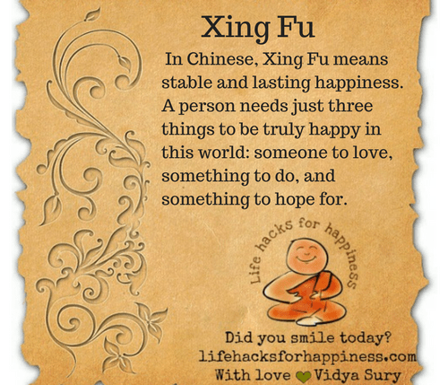 Xing Fu #lifehacksforhappiness