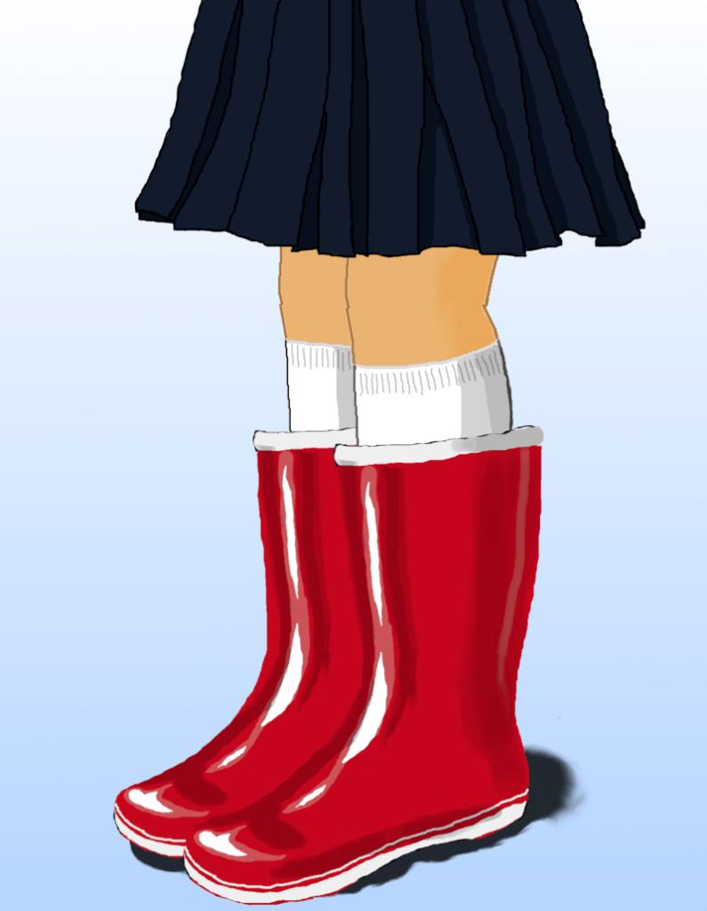 セーラー服と長靴のイラスト