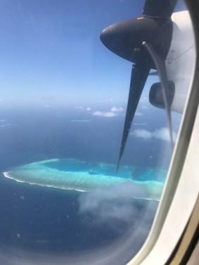 wyspy na Malediwach, widok z samolotu