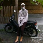 Driving motorbike in Indonesia