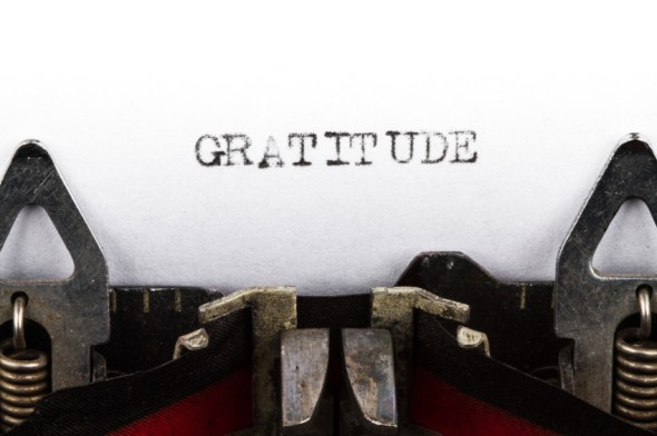 Typewriter with text gratitude