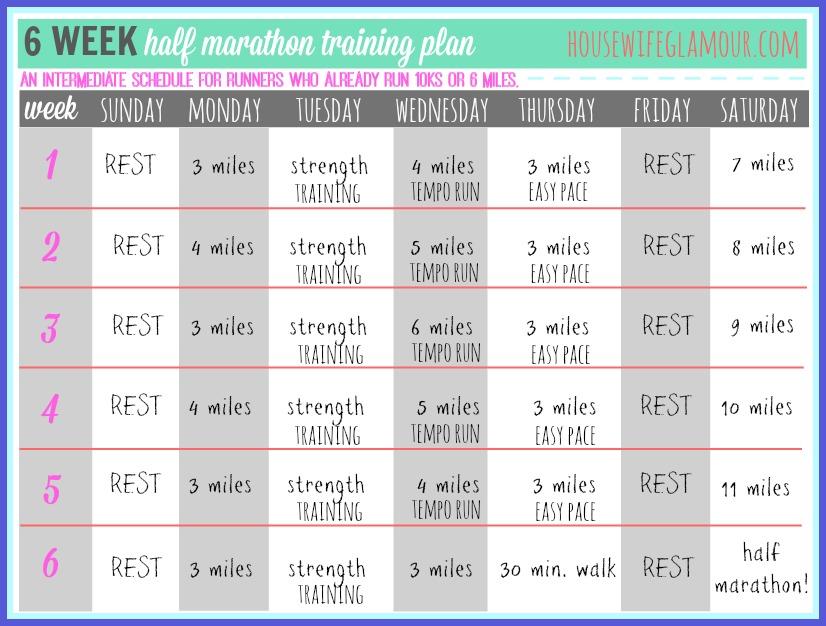 6 Weeks Half Marathon Training Plan Life In Leggings