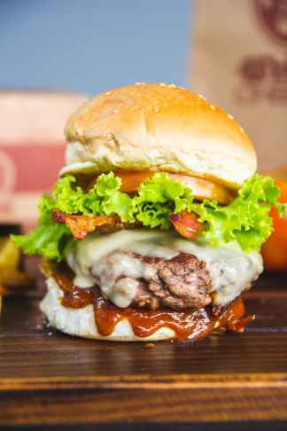 burger with patty and lettuce