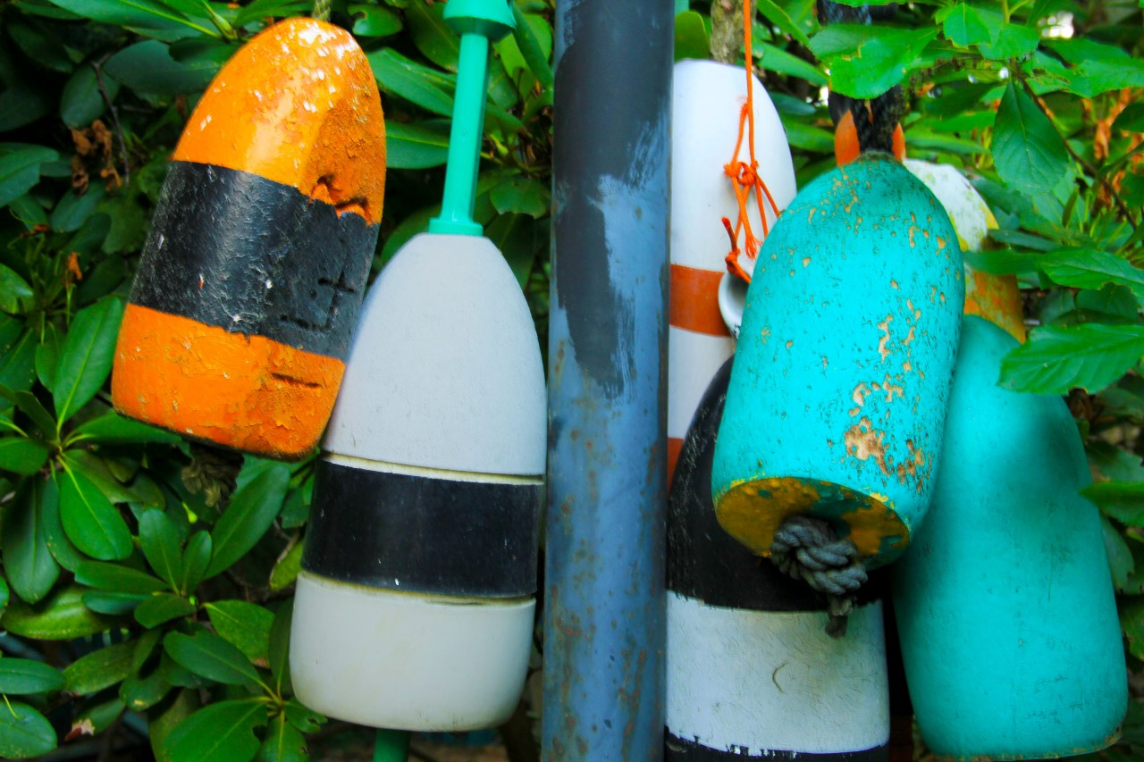 buoys on a lamp post close