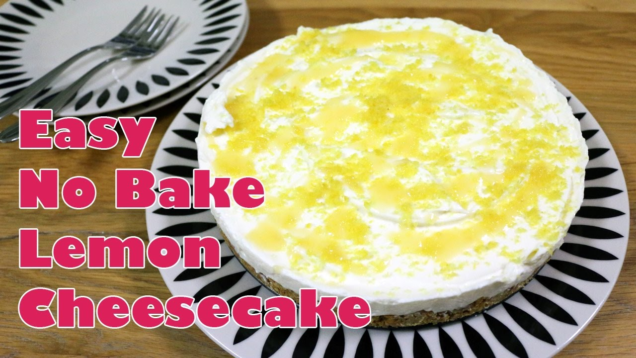 Freshly prepared and ready to eat no bake lemon cheesecake.