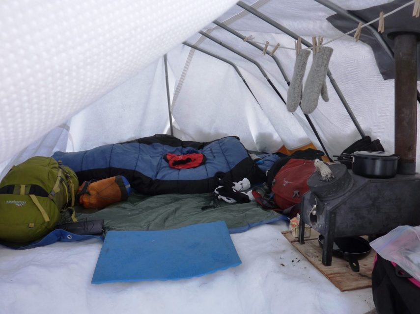 Inside view of heated tent during Arctic expedition in Alaska