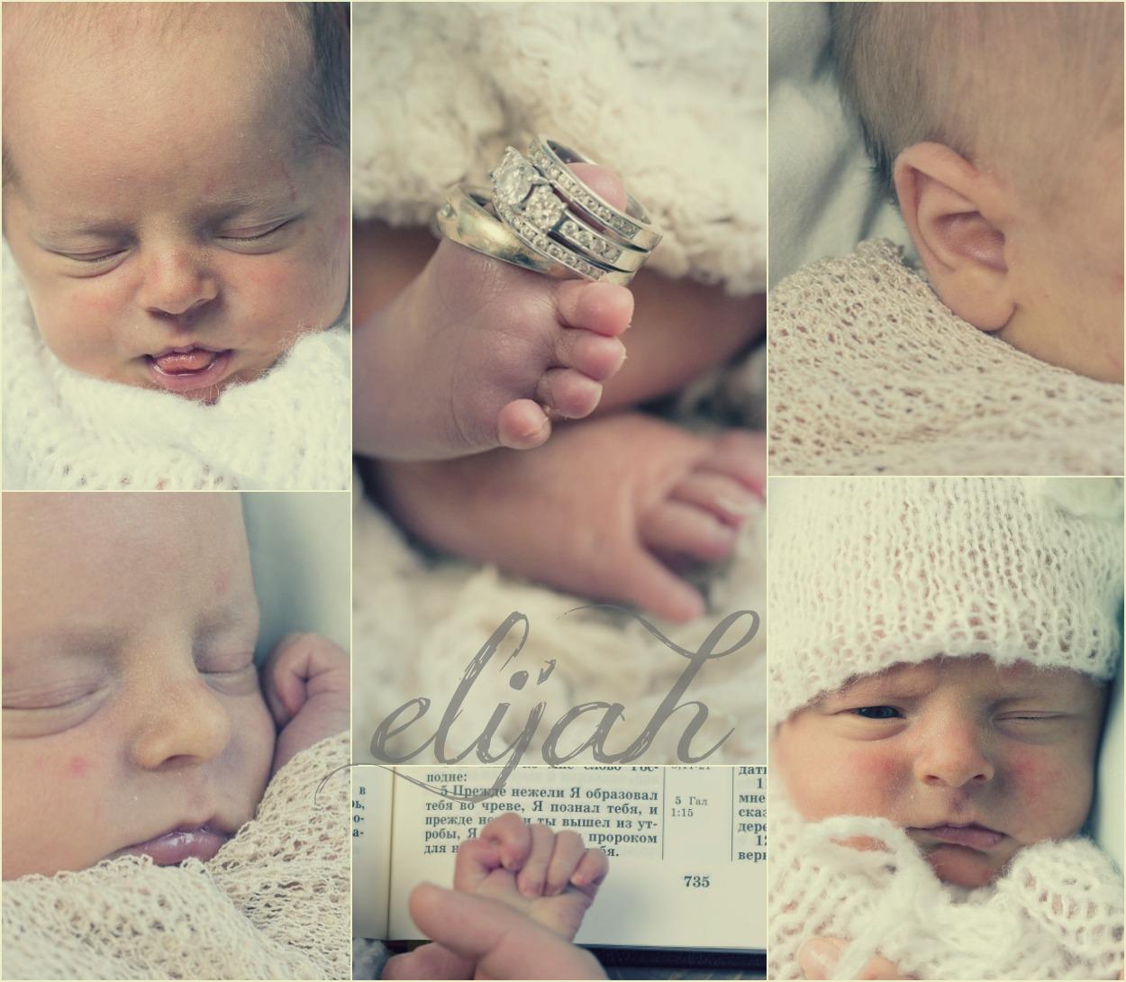 Collage of newborn baby pics.