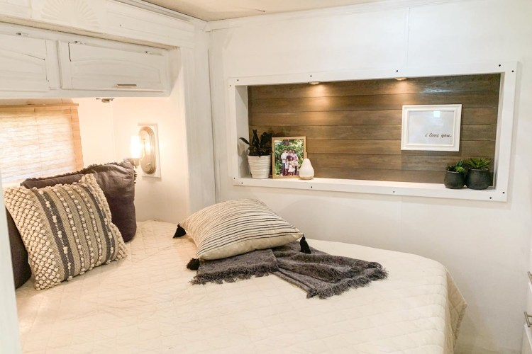 The after picture of the bedroom remodel in the RV.