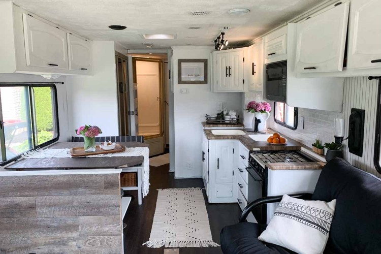 Picture of the living space of the remodeled RV.