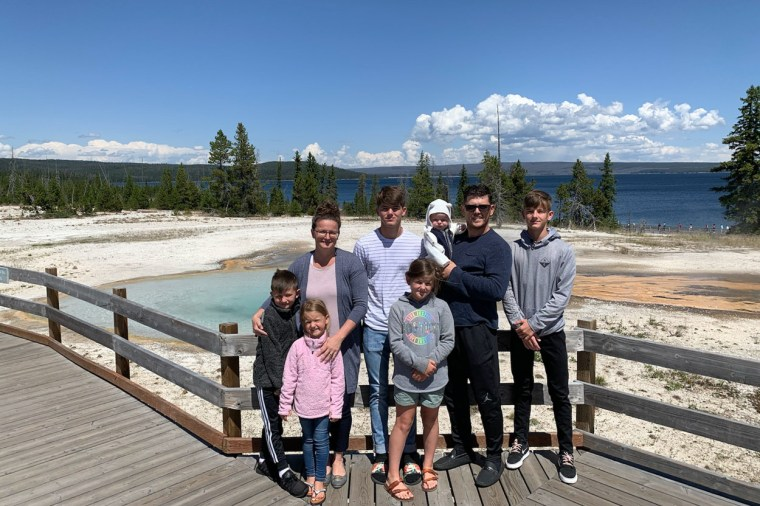 A family picture in the yellow stone park.