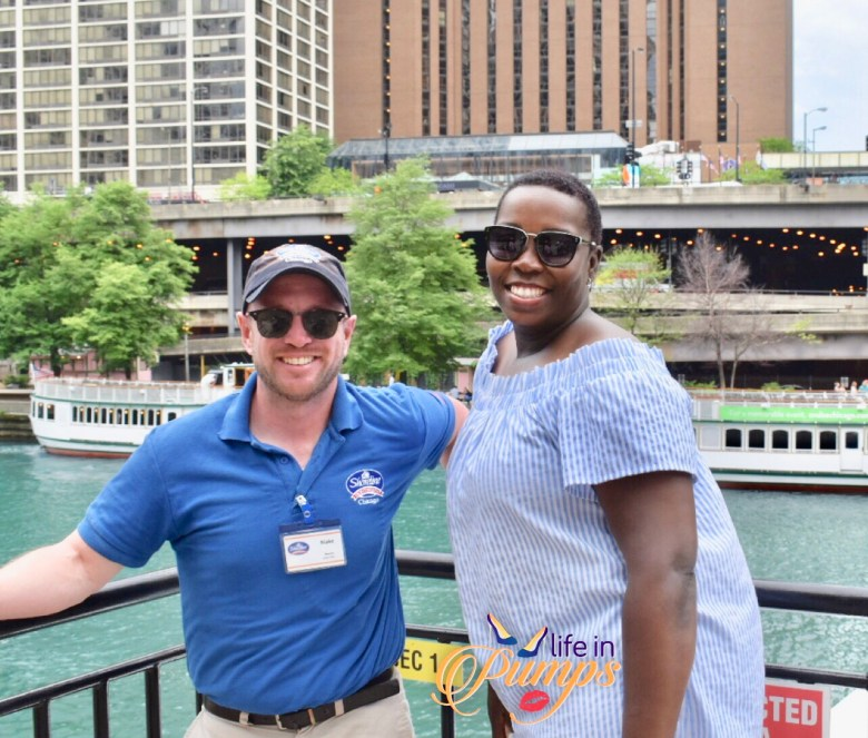 Chicago shoreline cruise, docent, river cruise, life in pumps