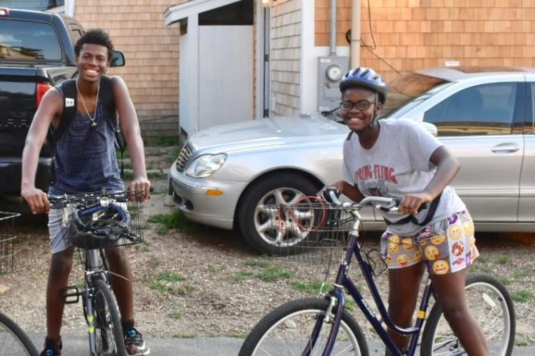 african American kids bike riding in oaks bluff Martha's Vineyard