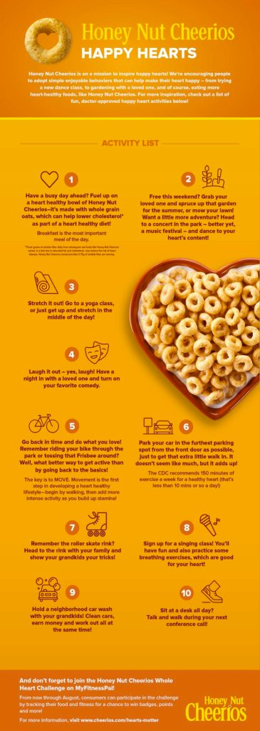 Honey Nut Cheerios Happy Hearts get active for a healthy heart
