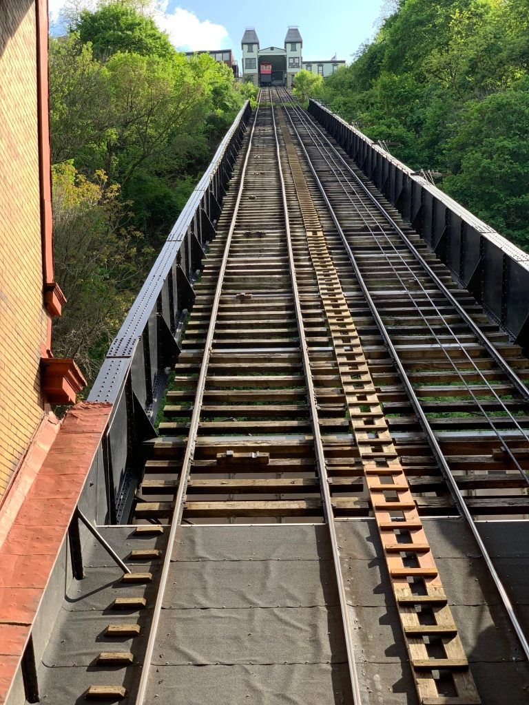 view from the Duquesne incline in Pittsburgh PA looking up from bottom