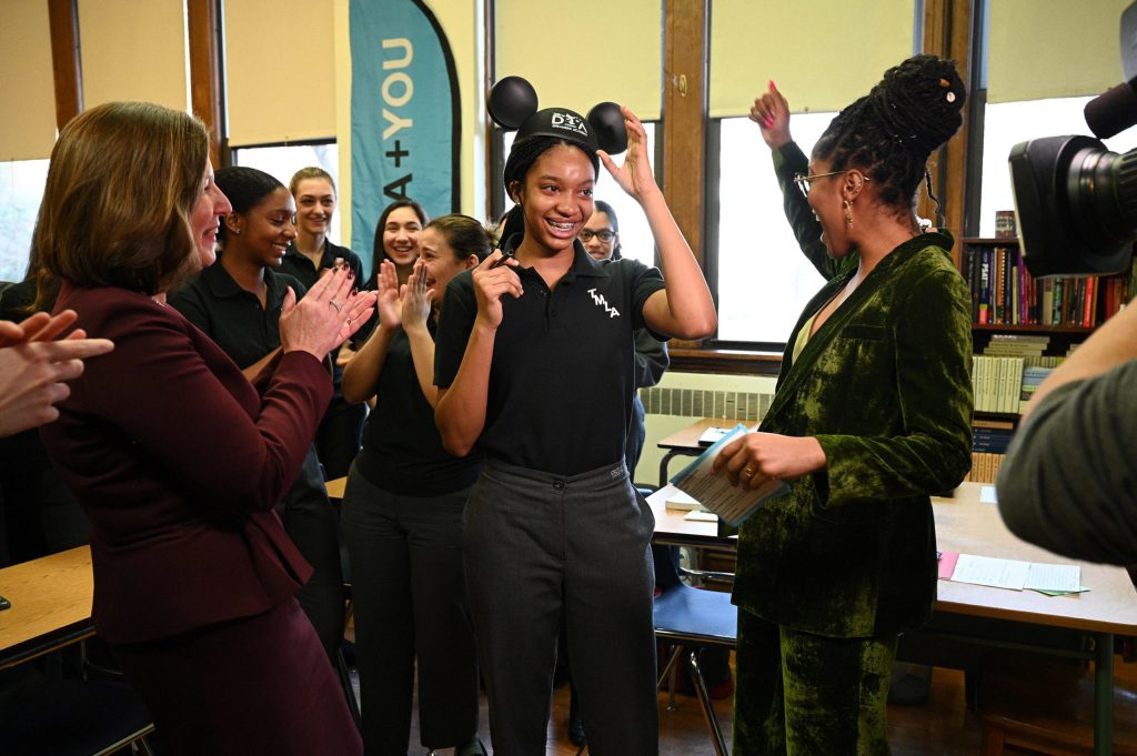 Keke Palmer surprises Disney Dreamer Student in her NY classroom disney dreamers academy disney academy what is disney dreamers academy